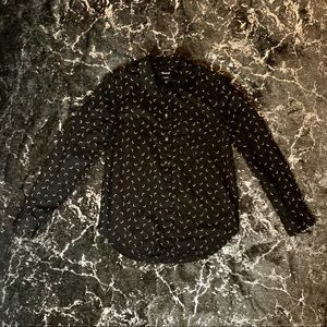 Black and Gold Crescent Moon Button Up